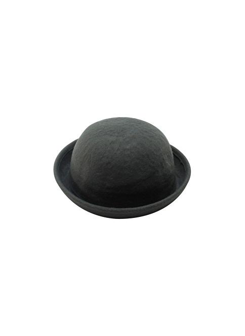 Laslusa Düz Melon Keçe Şapka Gri